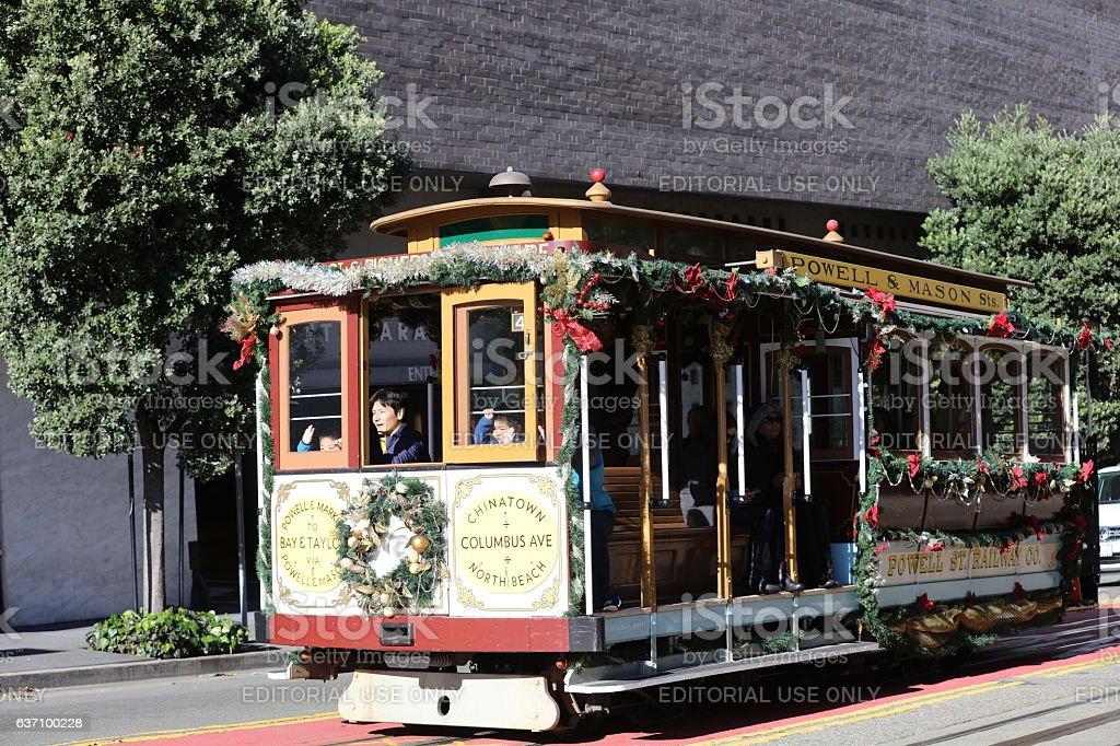 San Francisco Cable Car at the Christmas Eve, California stock photo