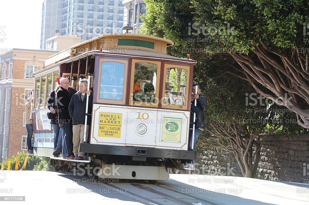 San Francisco Cable Car at the Christmas Eve, California stock photo