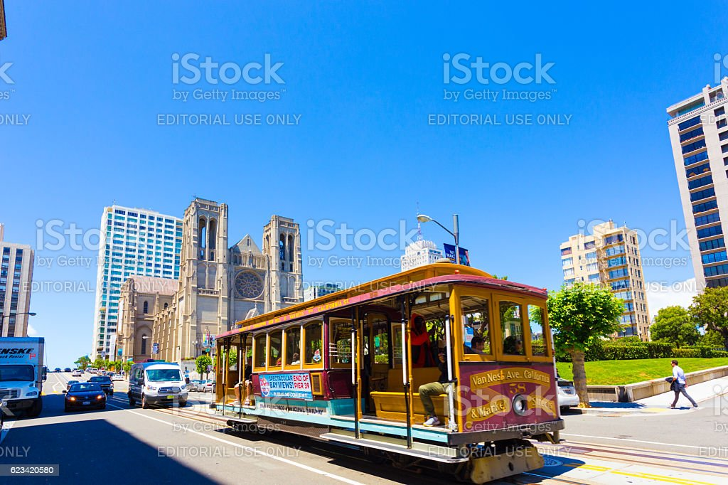 San Francisco Cable Car Grace Cathedral H stock photo