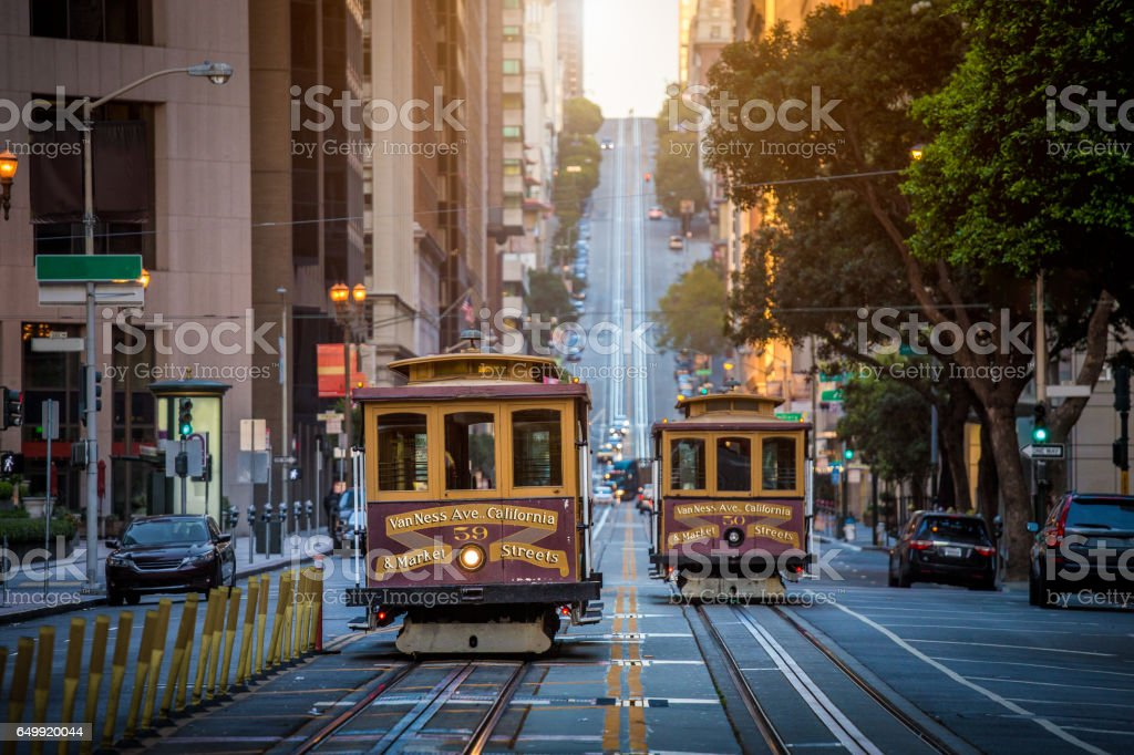 San Francisco Cable Cars on California Street at sunrise, California, USA stock photo