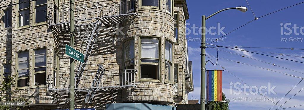 San Francisco Castro corner Gay Pride rainbow flag panorama California royalty-free stock photo