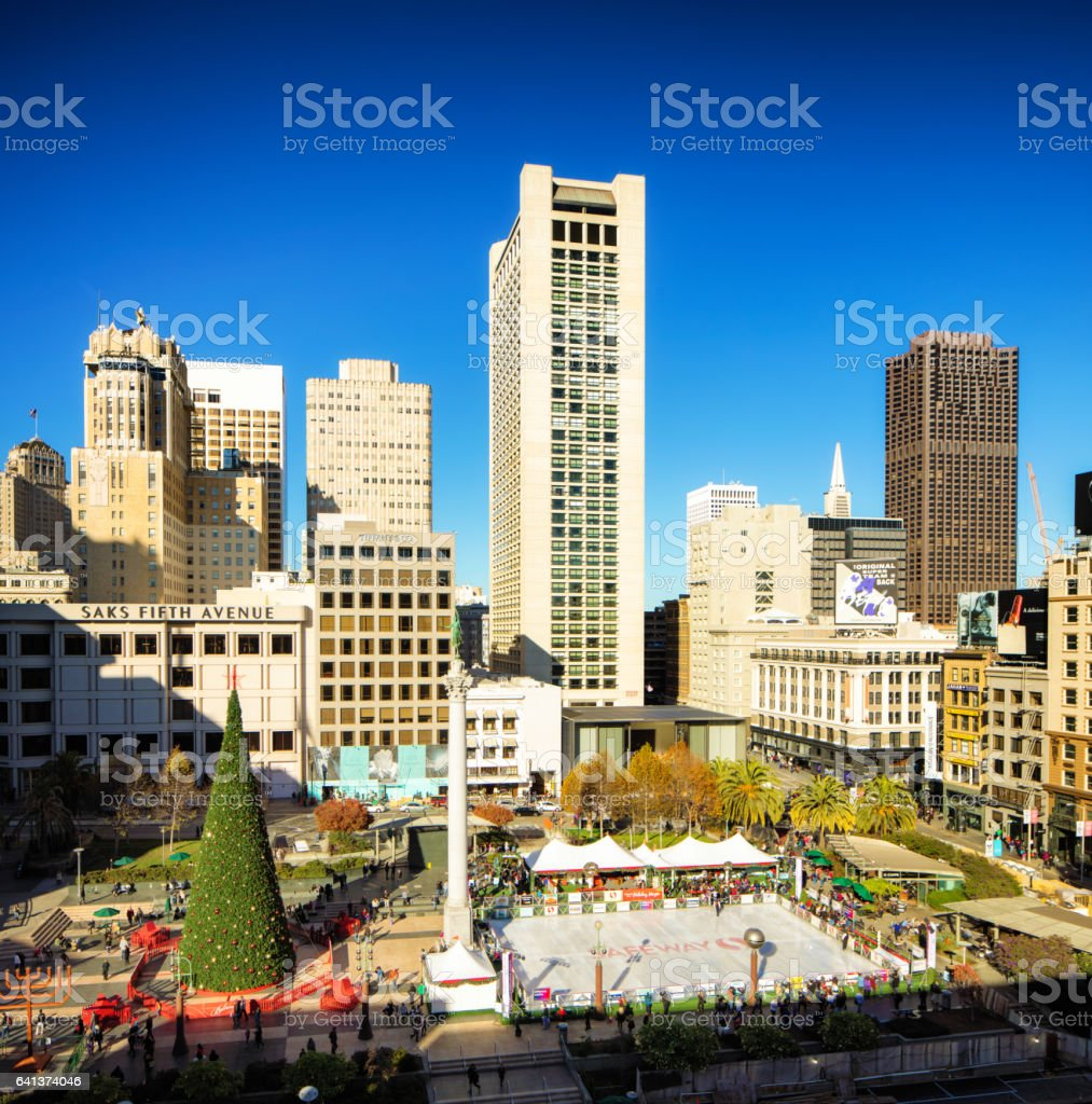 San Francisco Christmas site in Union Square sunny day stock photo
