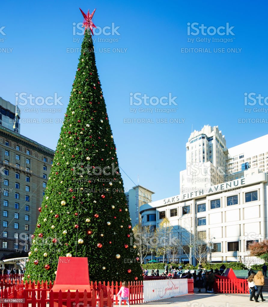 San Francisco Christmas tree in Union Square sunny day stock photo