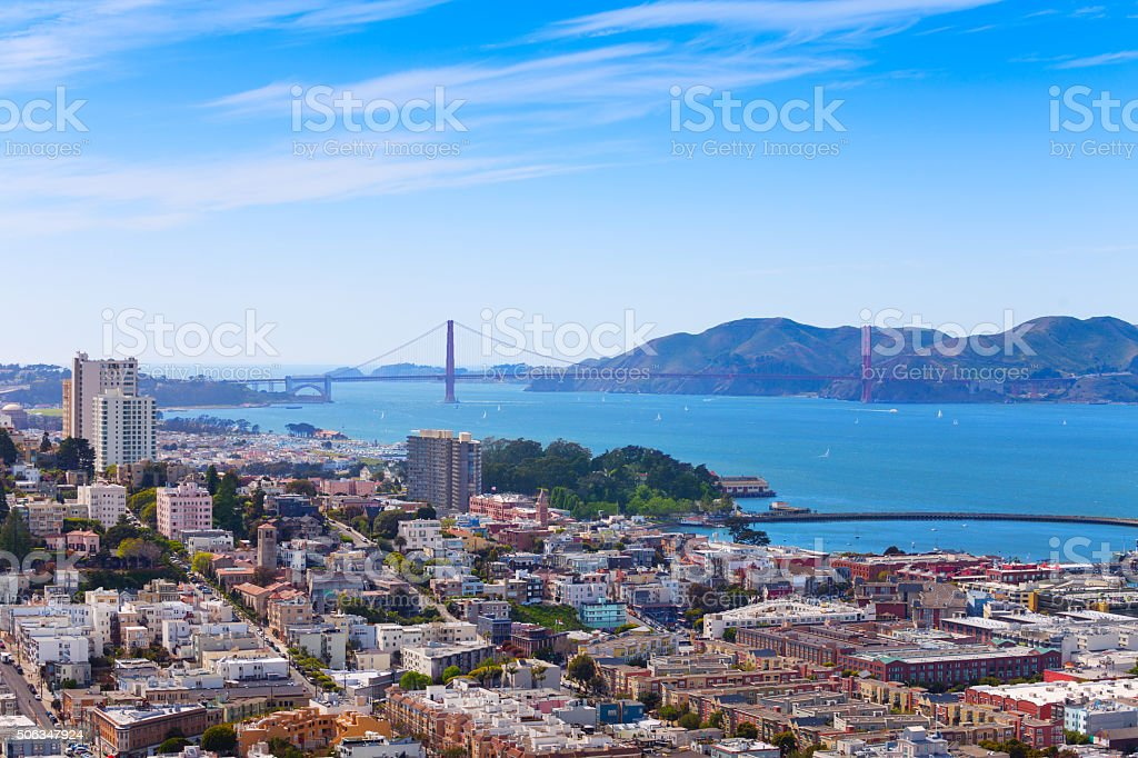 San Francisco city bay and Golden Gate bridge stock photo