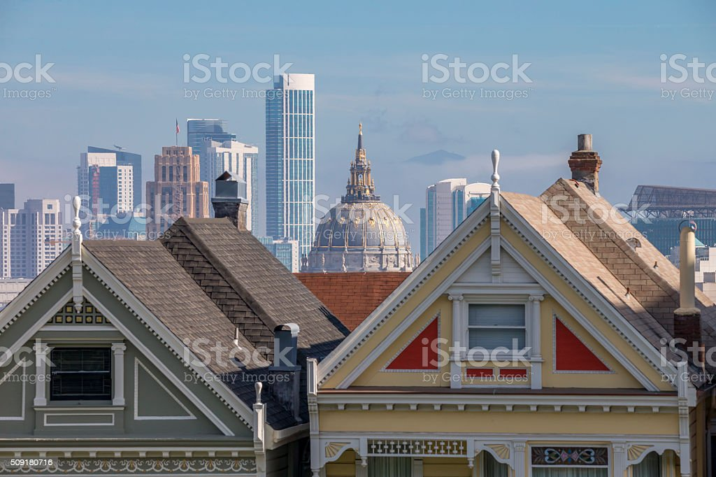San Francisco City Hall and painted ladies stock photo