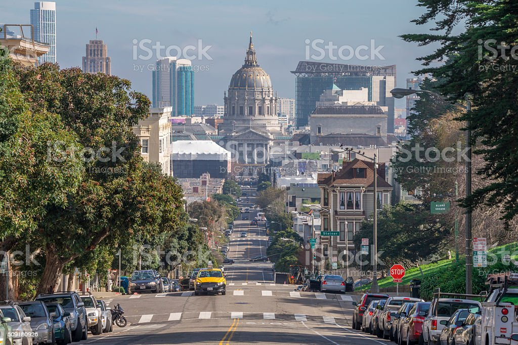 San Francisco City Hall and Street View stock photo