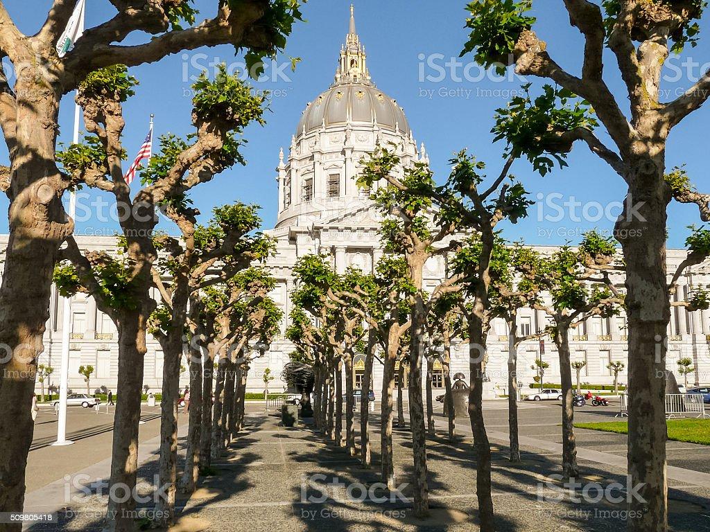 San Francisco City Hall behind the trees stock photo