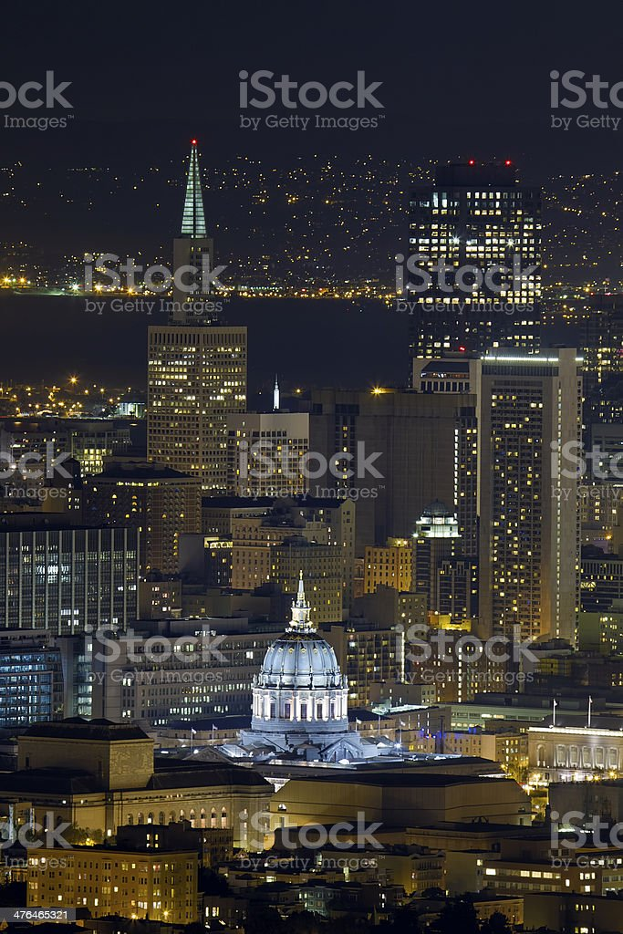 San Francisco City Hall Cityscape at Night stock photo