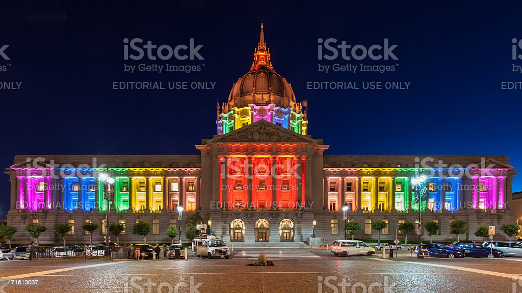 San Francisco City Hall in Rainbow Colors stock photo