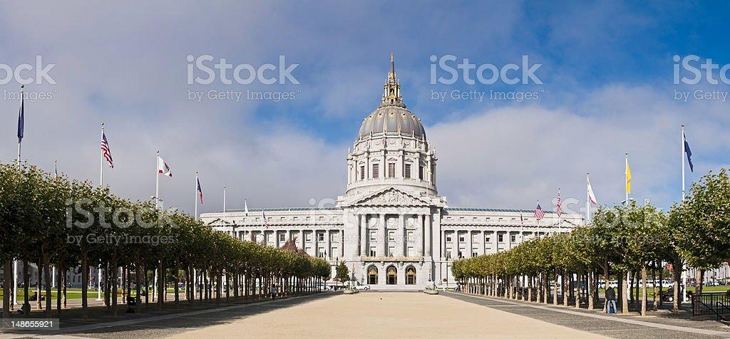 San Francisco City Hall United Nations Plaza summer panorama California stock photo