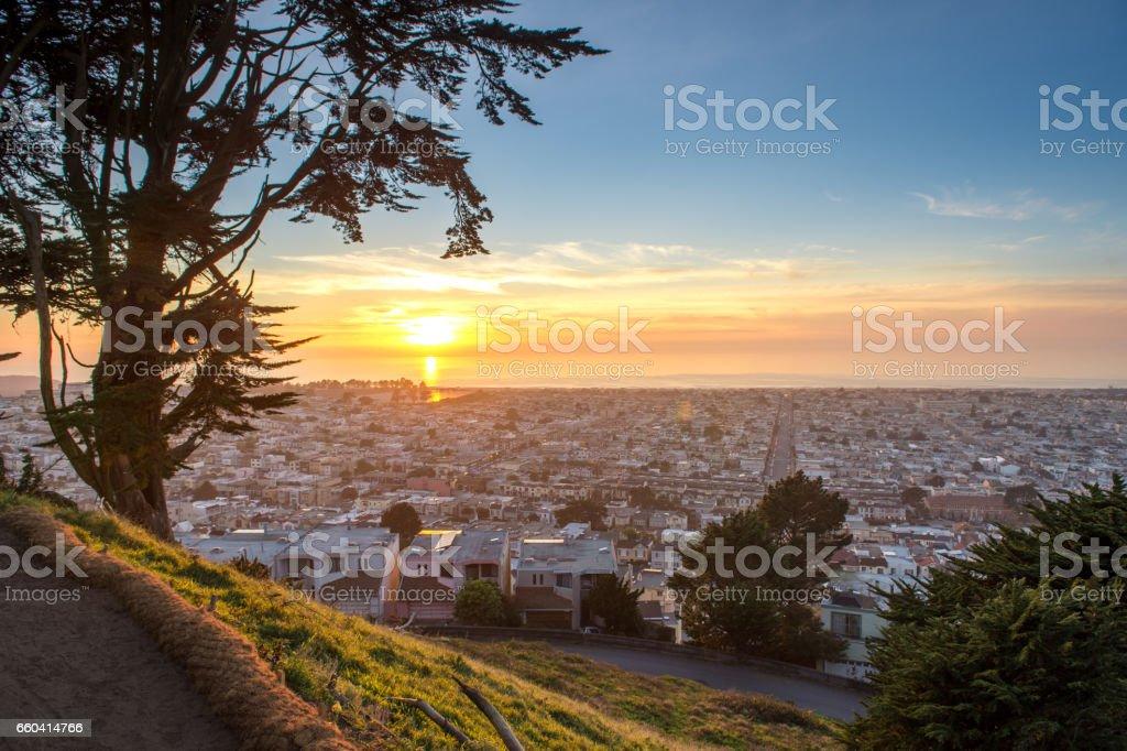 San Francisco city sunset stock photo