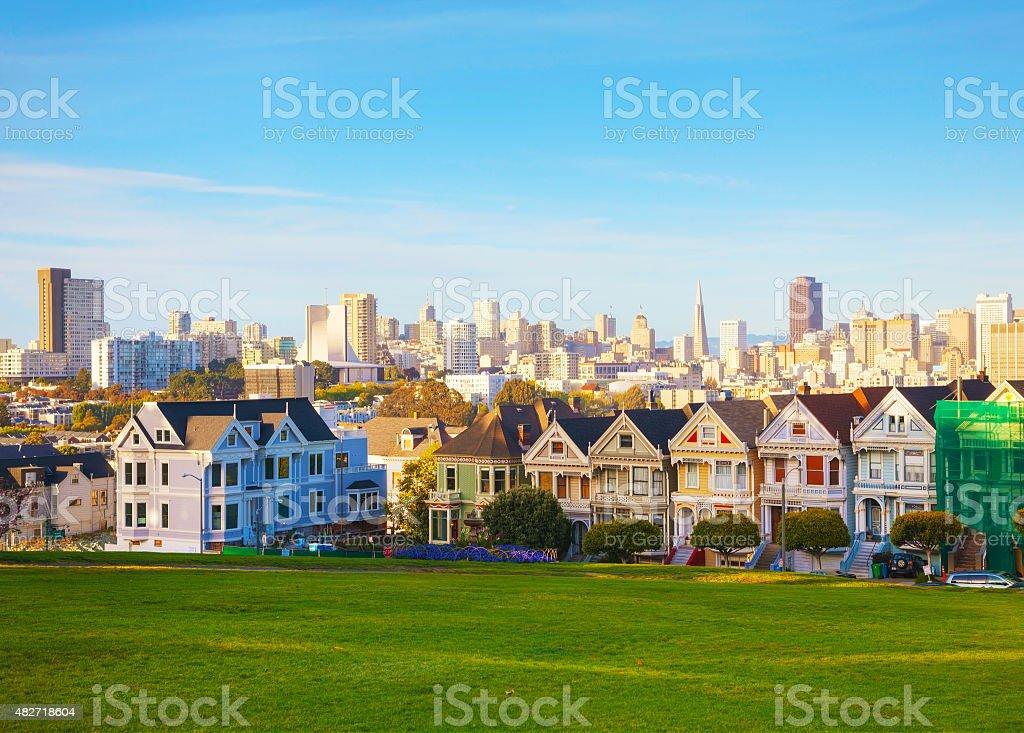 San Francisco cityscape as seen from Alamo square park stock photo