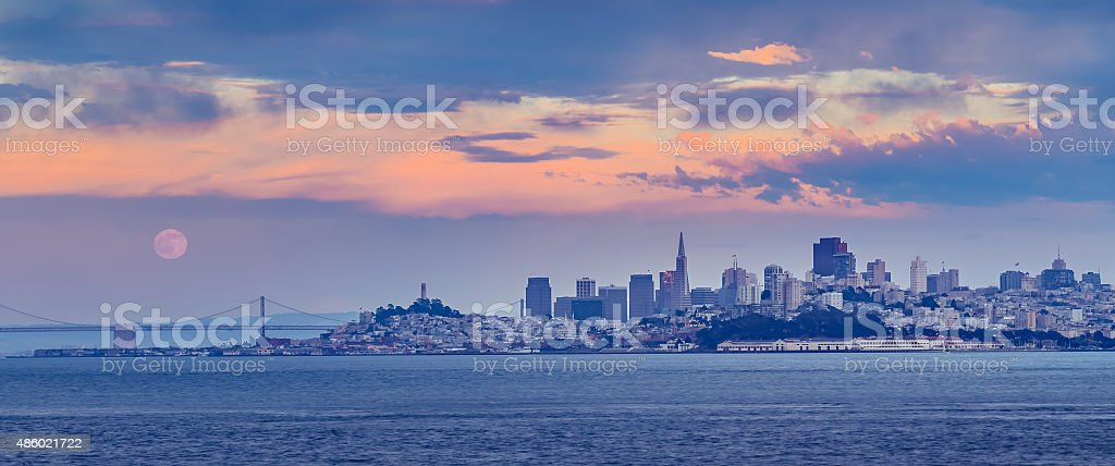 San Francisco Cityscape at Sunset with Full Moon stock photo
