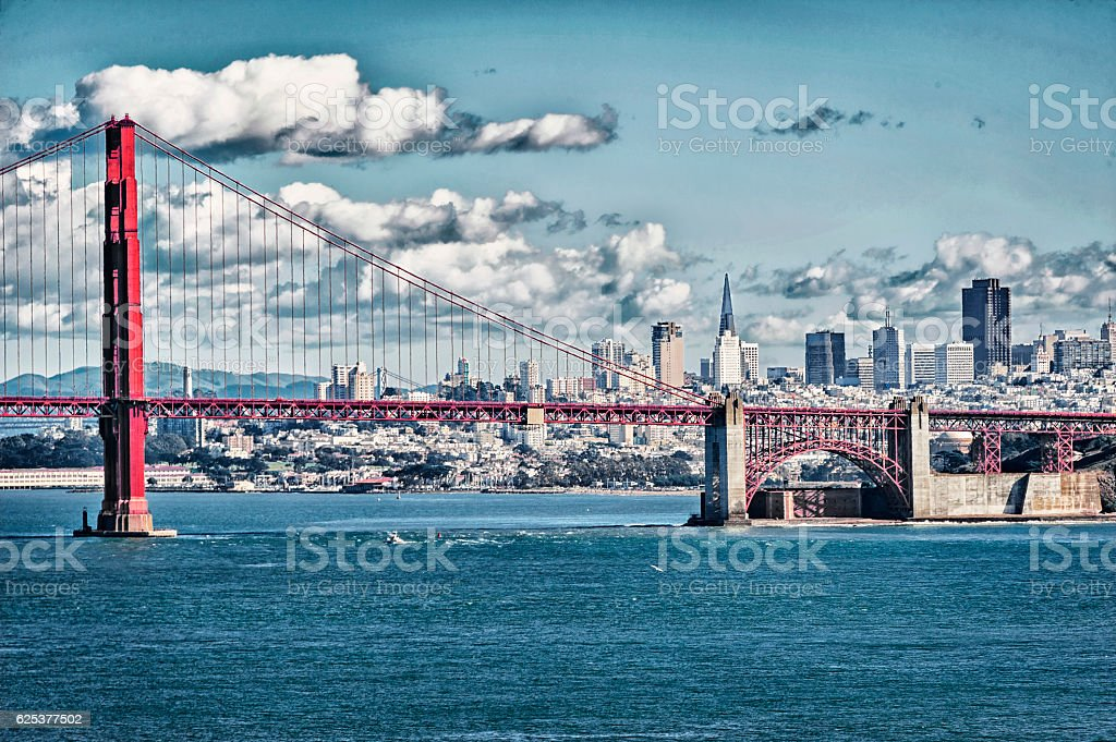 San Francisco Cityscape Background and Golden Gate Bridge with Clouds stock photo