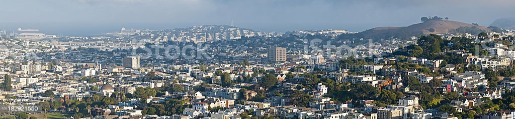San Francisco cityscape Dolores Castro Mission Bernal Heights panorama California stock photo