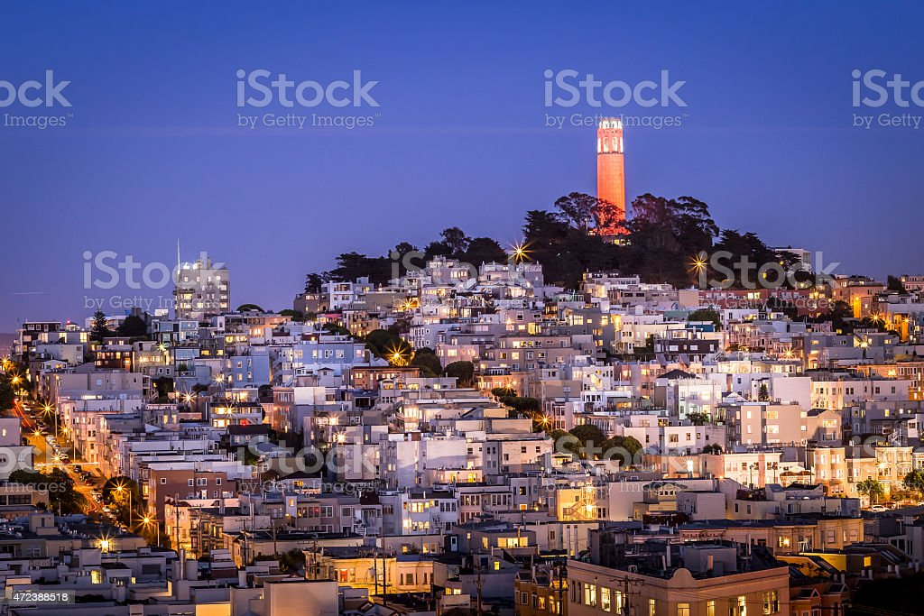 San Francisco Coit Tower on a beautiful night stock photo