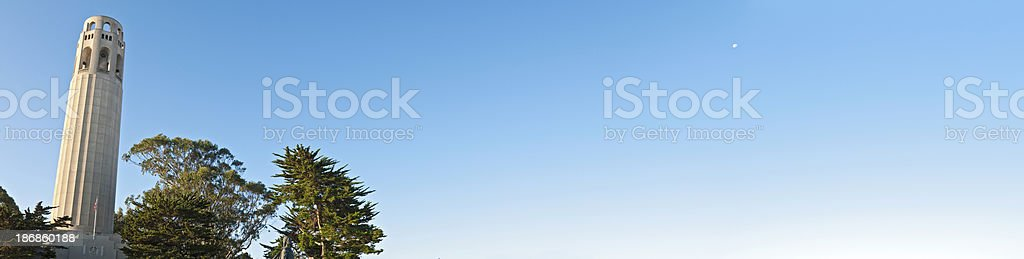 San Francisco Coit Tower Telegraph Hill landmark panoramic sky California royalty-free stock photo