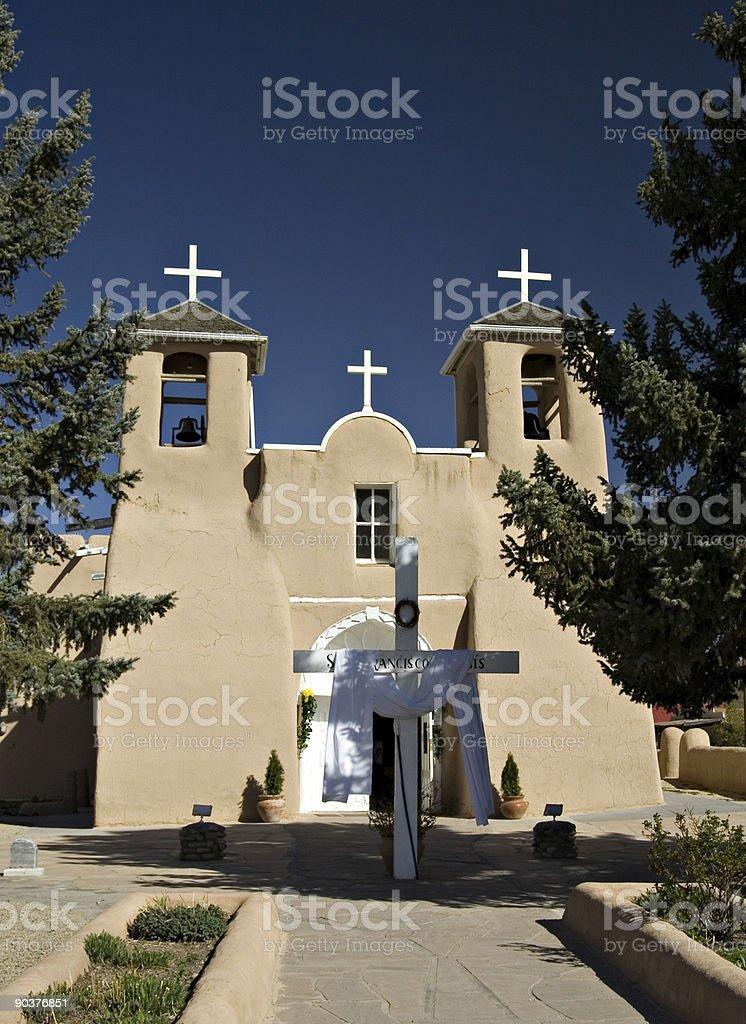 San Francisco de Assisi Church and Cross Taos, New Mexico royalty-free stock photo