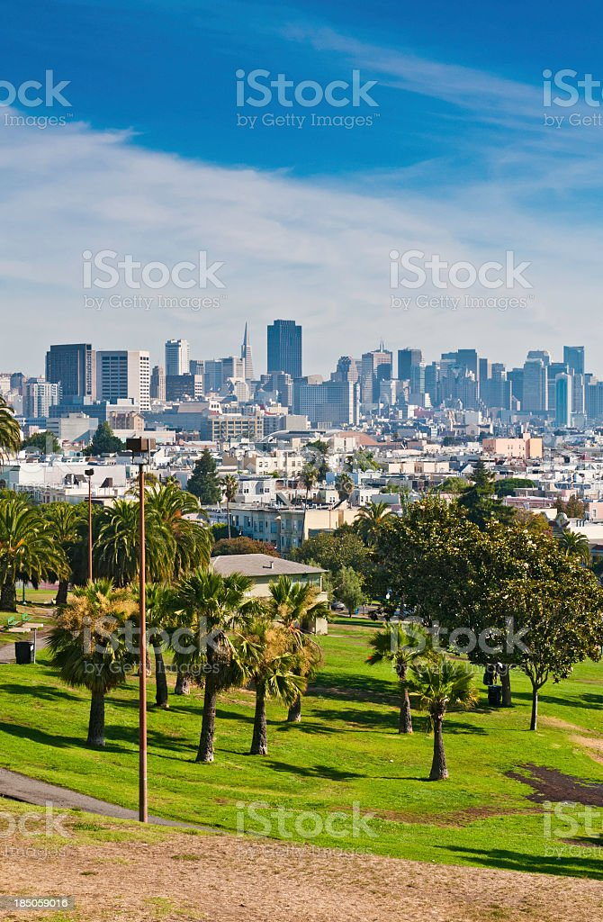 San Francisco Dolores Park downtown skyscrapers royalty-free stock photo