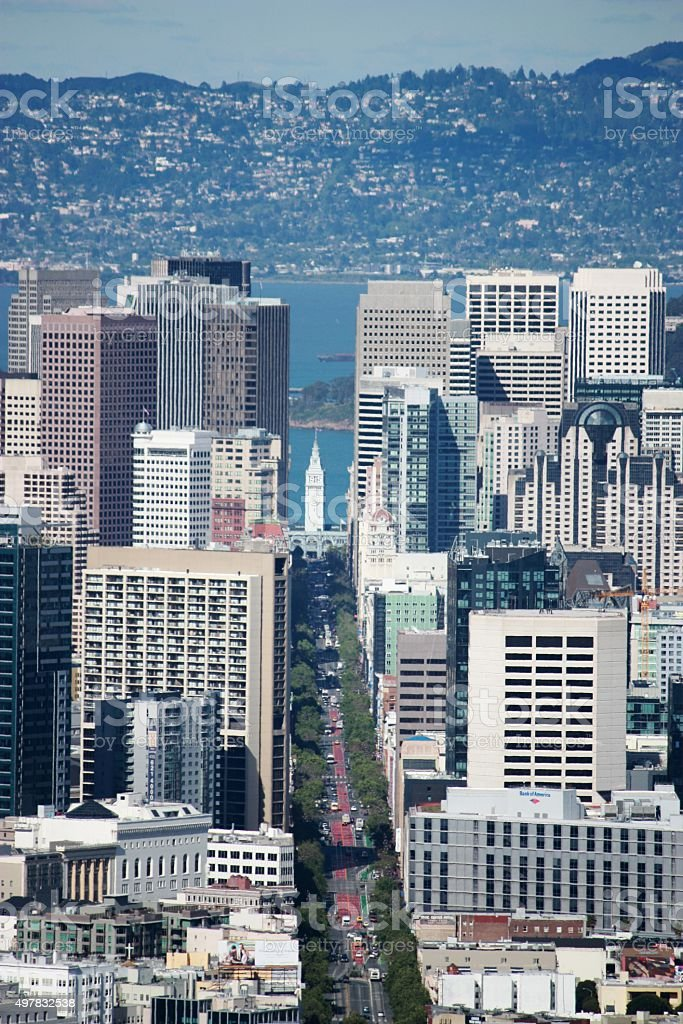 San Francisco down town view from the Twin Peaks, California stock photo