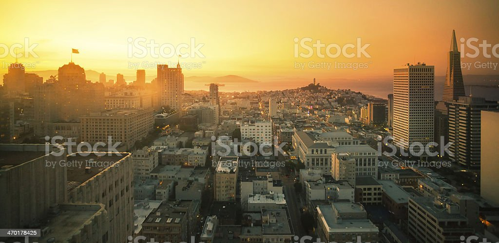 San Francisco Downtown Aerial View at Sunset, California stock photo