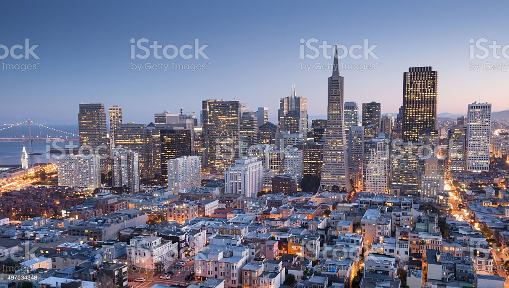 San Francisco Downtown, aerial view, Dusk. stock photo