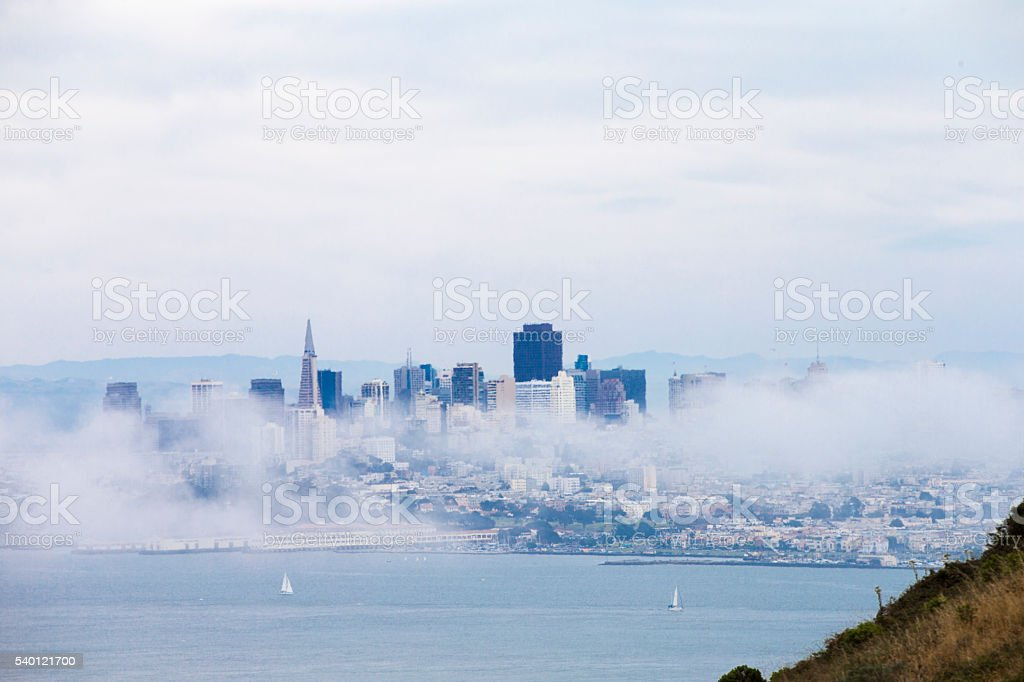 San Francisco Downtown and Low Fog, California stock photo