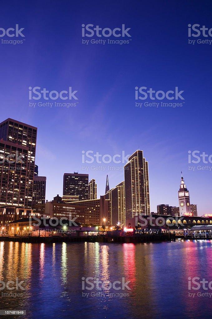 San Francisco downtown at dusk royalty-free stock photo