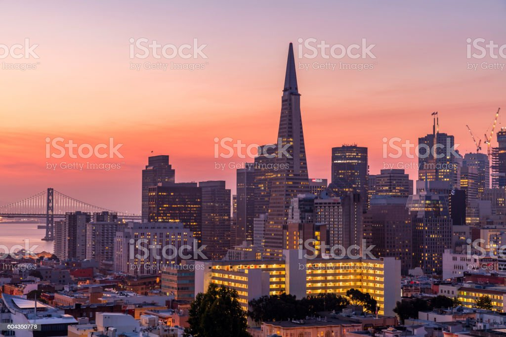 San Francisco downtown at Sunrise stock photo