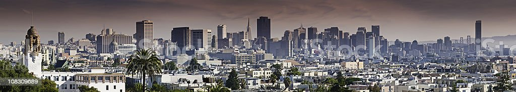 San Francisco downtown city skyline from Dolores Park panorama California stock photo