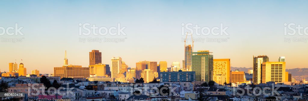 San Francisco downtown elevated panorama at sunset stock photo