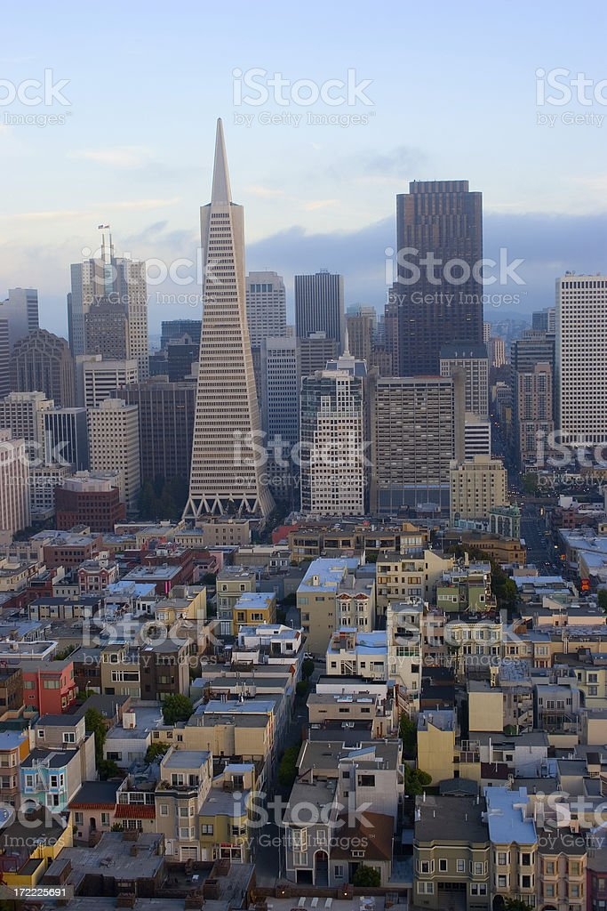 San Francisco Downtown, Financial District at Sunset stock photo