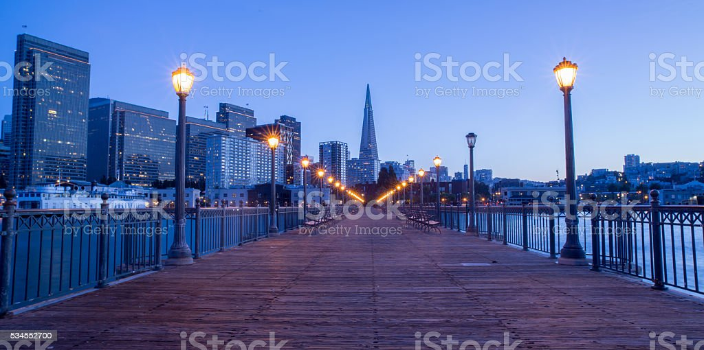 San Francisco Downtown from Pier 7, Dusk stock photo