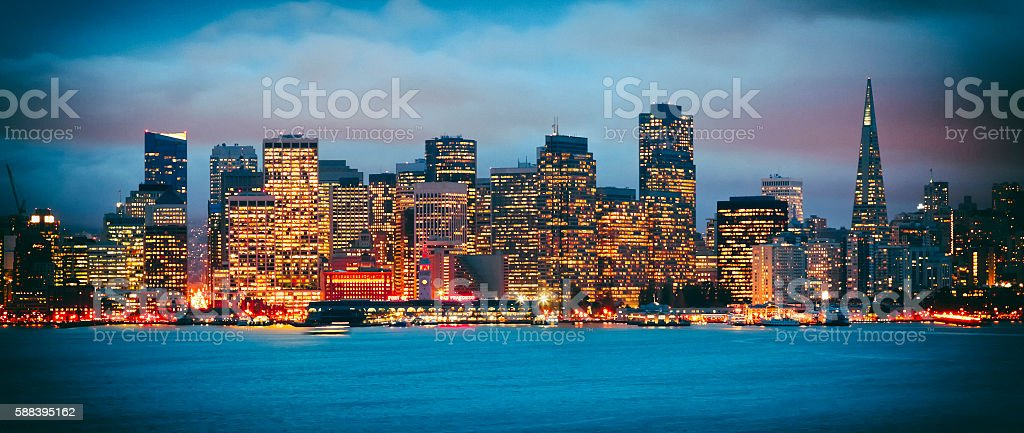 San Francisco Downtown in the night stock photo