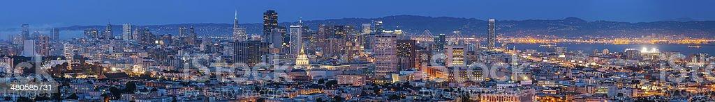 San Francisco downtown panoramic cityscape illuminated at dusk California USA stock photo