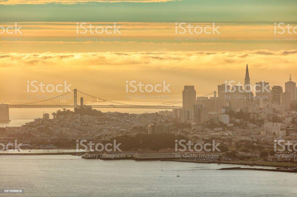 San Francisco Downtown Skyline  at sunrise stock photo