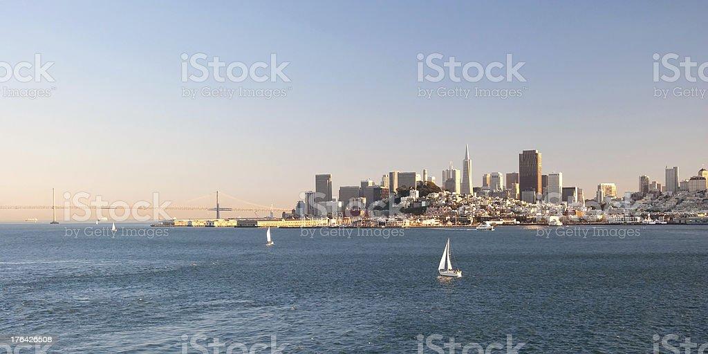 San Francisco downtown skyline from Alcatraz island royalty-free stock photo