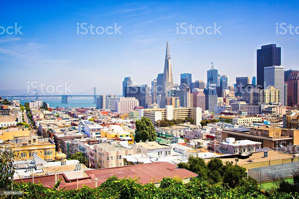 San Francisco downtown skyline with bay bridge stock photo
