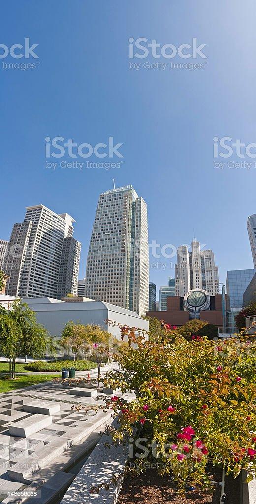 San Francisco downtown skyscrapers banner tranquil Yerba Buena gardens California stock photo
