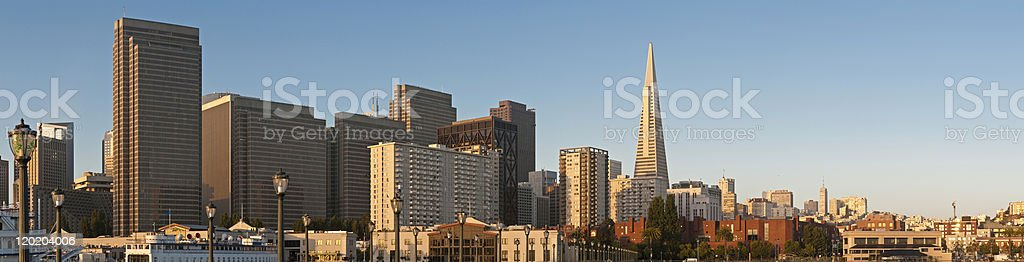 San Francisco downtown skyscrapers dawn sunlight cityscape panorama royalty-free stock photo