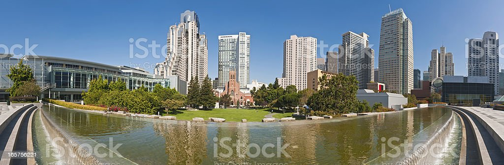 San Francisco downtown skyscrapers Yerba Buena Gardens panorama California stock photo