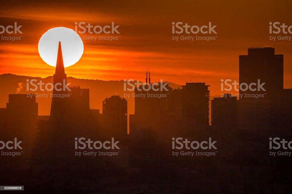 San Francisco Downtown Sunrise, California, USA stock photo