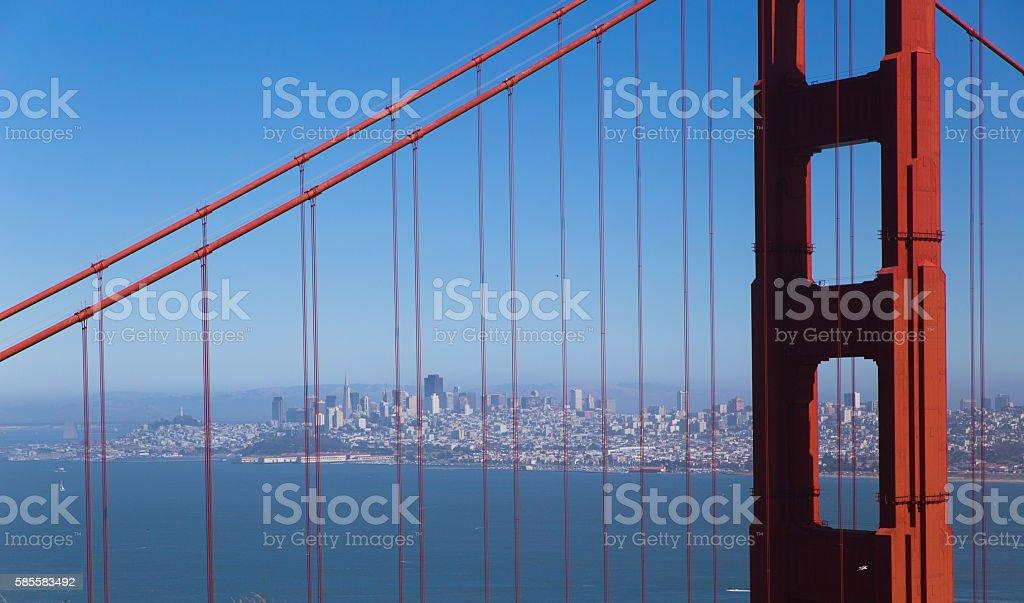 San Francisco downtown with Golden Bridge stock photo