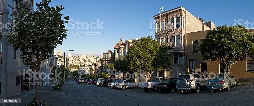 San Francisco early morning street scene California homes cars panorama royalty-free stock photo