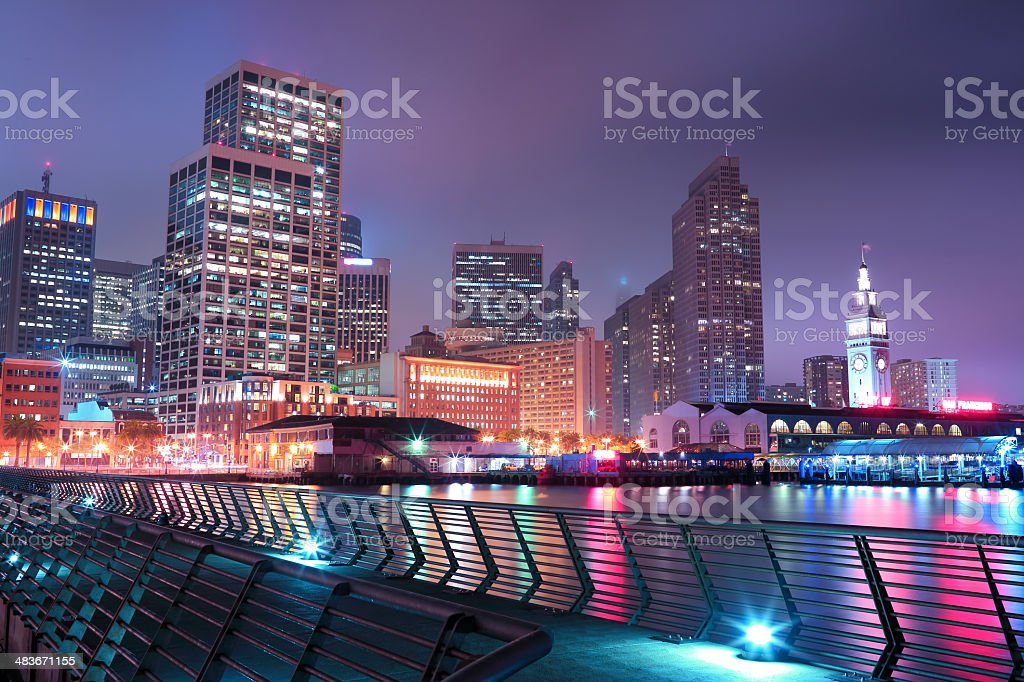 San Francisco: Ferry Building and Downtown stock photo
