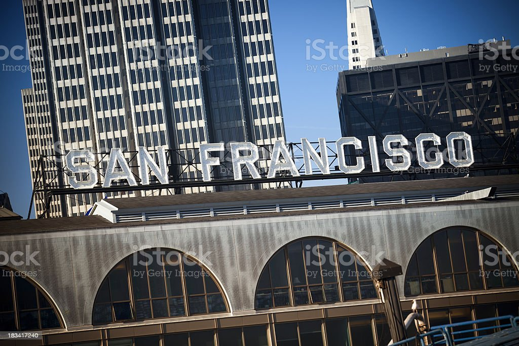 San Francisco ferry building by the bay stock photo