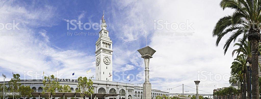 San Francisco ferry port building tower Embarcadero panorama California stock photo