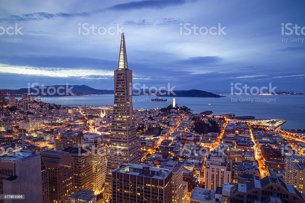 San Francisco Financial District Aerial View stock photo