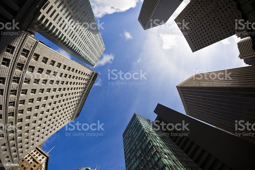 San Francisco Financial District against Vivid Blue Sky, Fisheye royalty-free stock photo