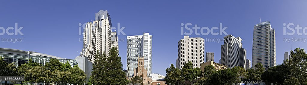 San Francisco Financial District downtown skyscrapers Yerba Buena panorama California stock photo